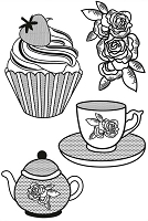 Kaiser Craft - Curiosity Collection - Clear Stamps - Tea Party