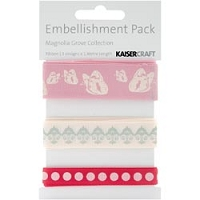 KaiserCraft - Magnolia Grove Collection -Printed Ribbon Embellishment Pack.
