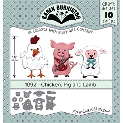Karen Burniston - Cutting Die - Chicken, Pig & Lamb Die Set