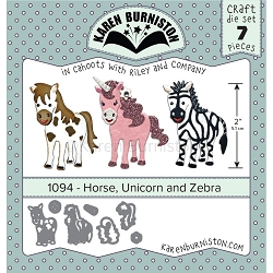 Karen Burniston - Cutting Die - Horse, Unicorn & Zebra Die Set