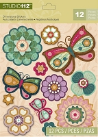 Studio 112 - Dimensional Stickers - Flower Butterfly
