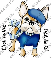 La-La Land Crafts - Rubber Cling Stamp - French Frenchie