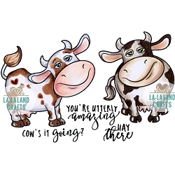 La-La Land Crafts - Rubber Cling Stamp - Cow's It Going