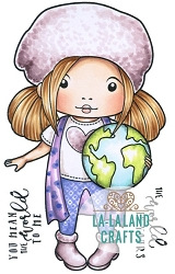 La-La Land Crafts - Rubber Cling Stamp - World Marci