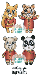 La-La Land Crafts - Rubber Cling Stamp - Happiness Critters