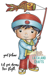 La-La Land Crafts - Rubber Cling Stamp - Luka with Carp Streamer