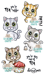 La-La Land Crafts - Rubber Cling Stamp - Tea Time Kittens