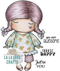 La-La Land Crafts - Rubber Cling Stamp - Paper Doll Marci - Awesome