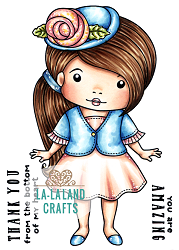 La-La Land Crafts - Rubber Cling Stamp - Rose Hat Marci