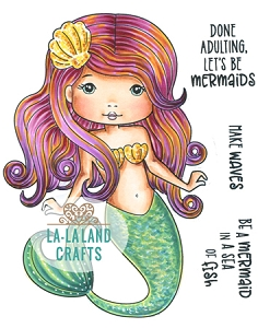 La-La Land Crafts - Rubber Cling Stamp - Sassy Mermaid Molli