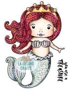 La-La Land Crafts - Rubber Cling Stamp - Mermaid Princess Marci