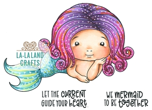 La-La Land Crafts - Rubber Cling Stamp - Mermaid Baby Marci