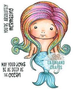 La-La Land Crafts - Rubber Cling Stamp - Sitting Mermaid Baby Marci