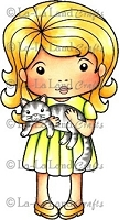 La-La Land Crafts - Rubber Cling Stamp - Marci with Cat
