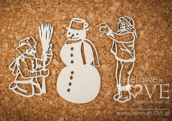 Laserowe Love Chipboard - Boys with snowman - Shabby Winter