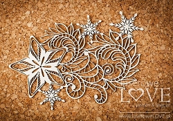 Laserowe Love Chipboard - Star with ornament - Shabby Winter