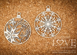 Laserowe Love Chipboard - Two Baubles w/ Star - Shabby Winter