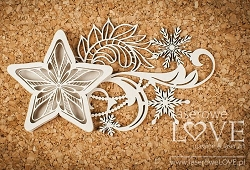 Laserowe Love Chipboard - Star shaker box - Shabby Winter