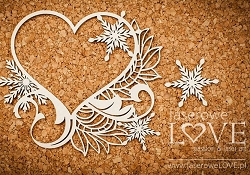 Laserowe Love Chipboard - Heart Snowflake Frame - Shabby Winter