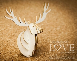 Laserowe Love Chipboard - 3D Deer Head - Winter Song