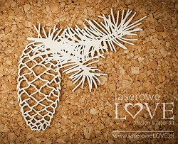 Laserowe Love Chipboard - Twig with Cone - Winter Song