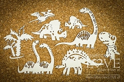 Laserowe Love Chipboard - Set of Big Dinosaurs - Dino Land