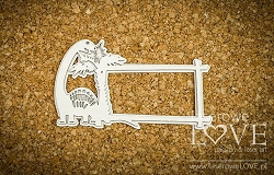 Laserowe Love Chipboard - Dinosaur Frame with a brachiosaurus  - Dino Land