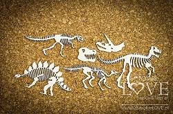 Laserowe Love Chipboard - Dinosaur Skeletons - Dino Land
