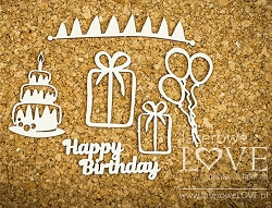 Laserowe Love Chipboard - Happy Birthday - Dino Land