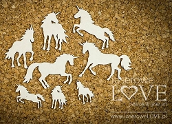 Laserowe Love Chipboard - Unicorn Set - Rainbow Unicorn