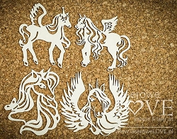Laserowe Love Chipboard - Unicorn Set #1 - Rainbow Unicorn