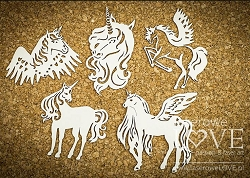 Laserowe Love Chipboard - Unicorn Set #2 - Rainbow Unicorn