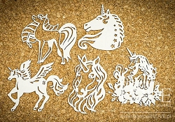Laserowe Love Chipboard - Unicorn Set #3 - Rainbow Unicorn
