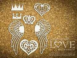 Laserowe Love Chipboard - Crowns & Wings - Rainbow Unicorn