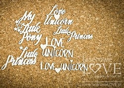 Laserowe Love Chipboard - Words - Rainbow Unicorn