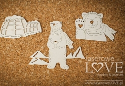 Laserowe Love Chipboard - Two polar bears and igloo - Arctic Sweeties