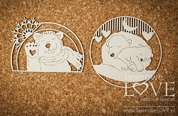 Laserowe Love Chipboard - Polar bears in frames - Arctic Sweeties