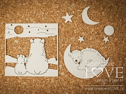 Laserowe Love Chipboard - Polar bears and moon - Arctic Sweeties