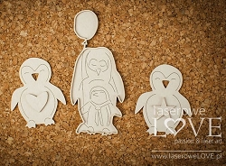 Laserowe Love Chipboard - Penguin with balloons - Arctic Sweeties