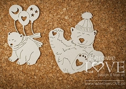 Laserowe Love Chipboard - Polar bears - Arctic Sweeties