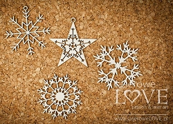 Laserowe Love Chipboard - Snowflakes #1 - Arctic Sweeties