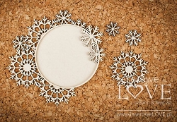 Laserowe Love Chipboard - Round frame with snowflakes - Arctic Sweeties
