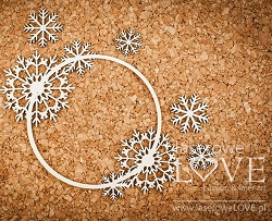Laserowe Love Chipboard - Delicate frame with snowflakes - Arctic Sweeties