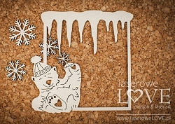 Laserowe Love Chipboard - Frame with polar bears - Arctic Sweeties