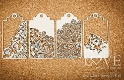 Laserowe Love Chipboard - Big Tags - Coral/Navy Romance