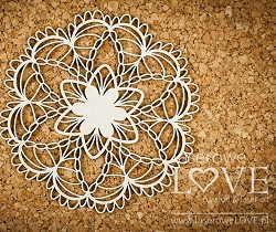 Laserowe Love Chipboard - Small Rosette #2 - Coral/Navy Romance