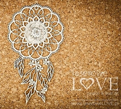 Laserowe Love Chipboard - Dreamcatcher with Peony - Coral/Navy Romance