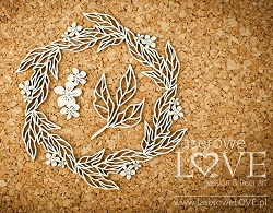 Laserowe Love Chipboard - Wreath with leaves - Coral/Navy Romance