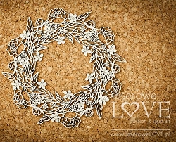 Laserowe Love Chipboard - Big Wreath with Leaves - Coral/Navy Romance