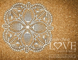 Laserowe Love Chipboard - Big Rosette #2 - Coral/Navy Romance